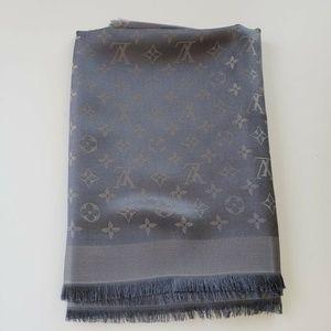 Louis Vuitton Silk Charcoal Gray Scarf Shawl